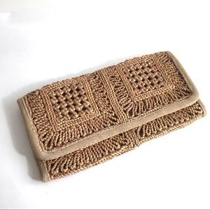 Vintage Straw Clutch Purse Woven Boho 1970's Italy